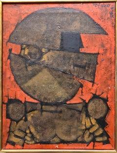 "Israeli Cubist Modernist Oil Painting ""Rosh Shiryon Abir"" Armor"