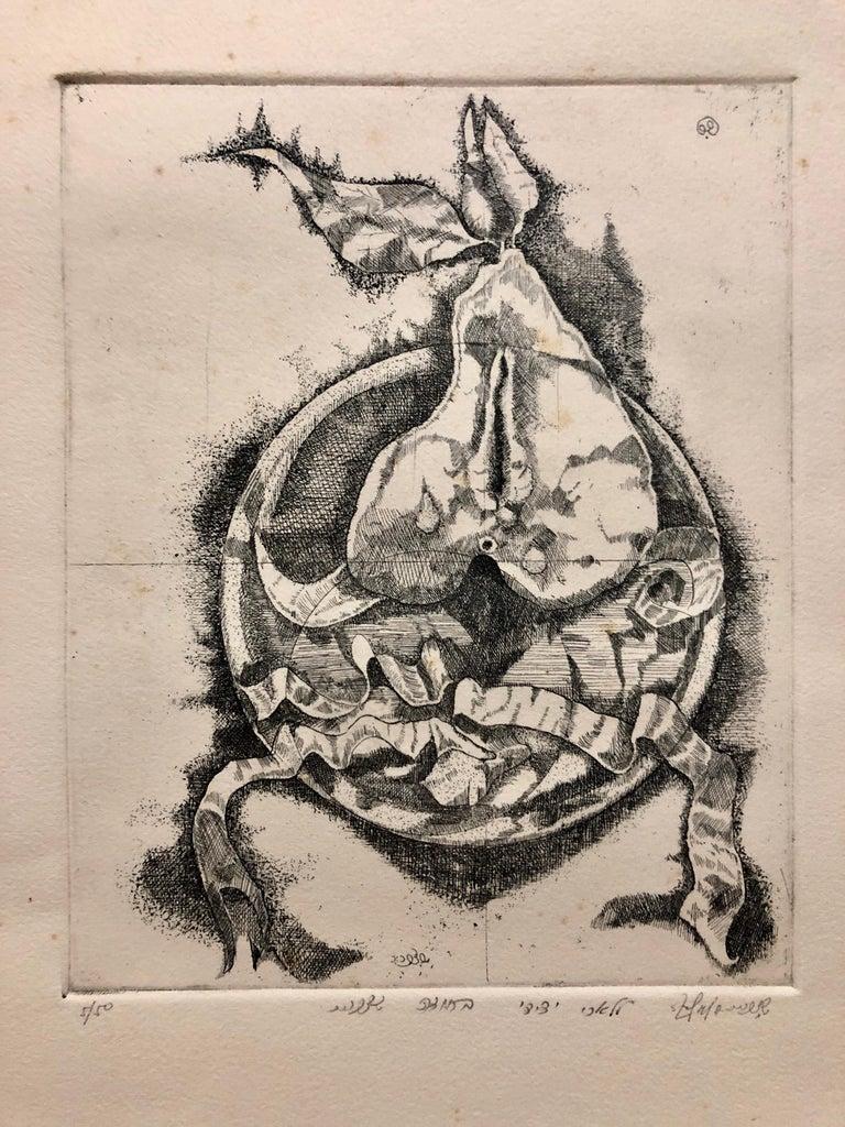 Israeli Modernist Surrealist Etching Cut Pear - Print by Shlomo Zafrir