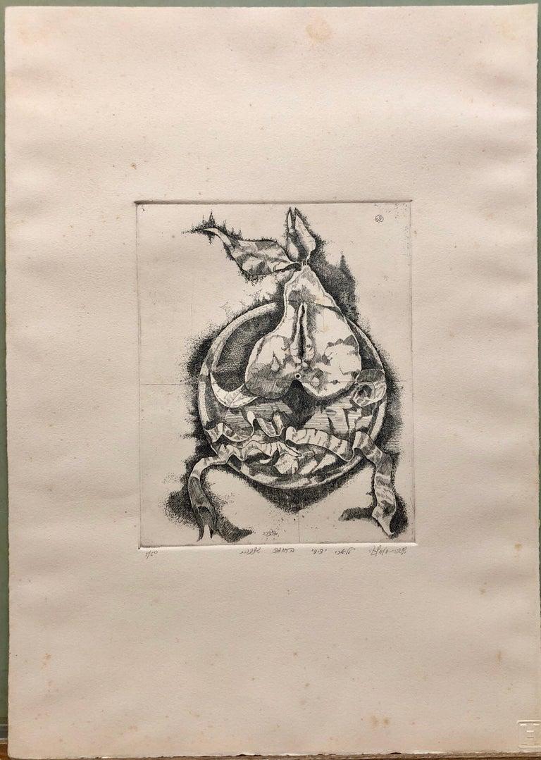 Israeli Modernist Surrealist Etching Cut Pear - Beige Still-Life Print by Shlomo Zafrir