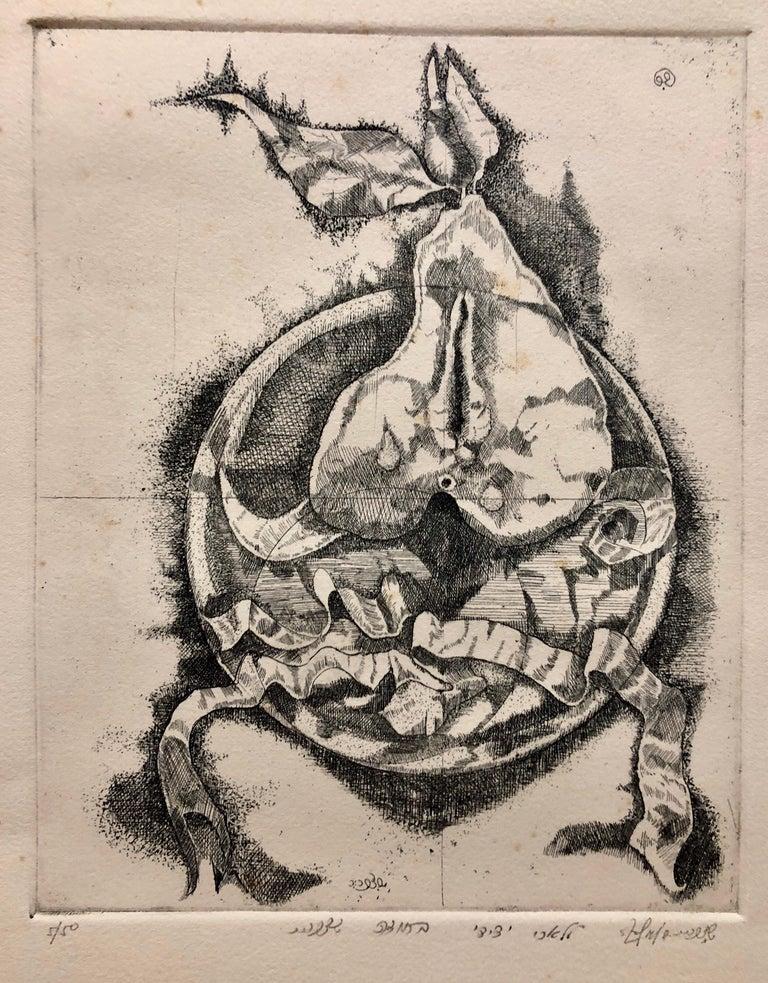 Shlomo Zafrir Still-Life Print - Israeli Modernist Surrealist Etching Cut Pear
