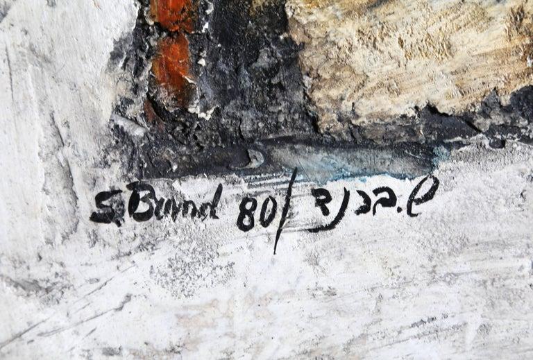 Artist: Shmuel Brand, German/Israeli (1921 - ) Title: Untitled Year: 1980 Medium: Oil with Mixed Media on Masonite, signed l.l Size: 39.5 x 27.5 in. (100.33 x 69.85 cm)