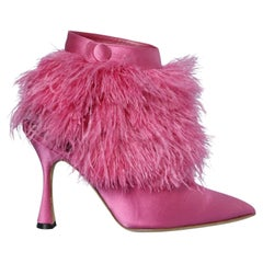 Shocking pink boots in satin and feathers Manolo Blahnik