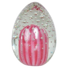 Shocking Pink Paperweight Art Glass Egg Controlled Bubble Tapio Wirkkala Style
