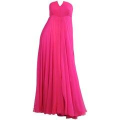 Shocking Pink Strapless Silk Chiffon Evening Gown 1970's