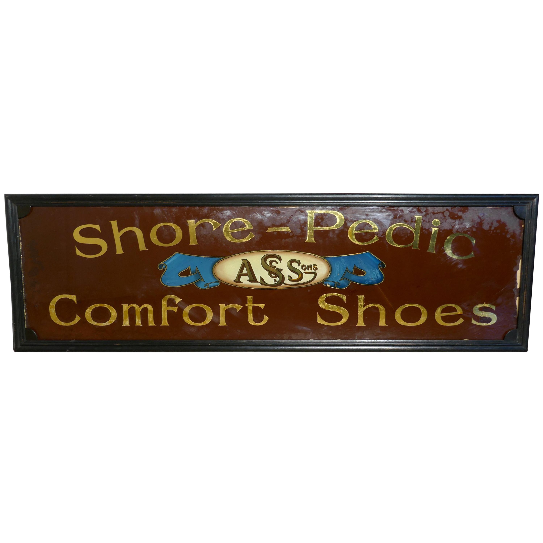 Shoe Shop Mirror Advertising Sign, A S & Sons Shore Pedic Shoes