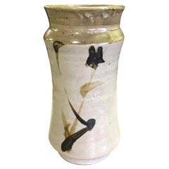 Shoji Hamada Japanese Glazed Bamboo Tetsue Vase with Original Signed Sealed Box