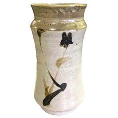 Shoji Hamada Japanese Glazed Bamboo Tetsue Vase with Original Signed Sealed Box