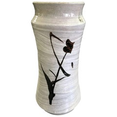 Shoji Hamada Japanese Glazed Tetsue Hakeme Vase with Original Signed Sealed Box