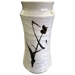 Shoji Hamada Japanese Glazed Tetsue Hakeme Vase with Original Signed Sealed Box