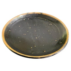 Shoji Hamada Mingei Mashiko Pottery Large Black Glaze Plate Bowl with Noted Box