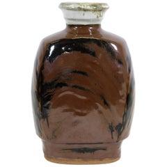 Shoji Hamada Style Japanese Mingei Kakiyu Glazed Vase