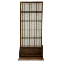 Shoji Privacy Screen in Walnut with Washi, Room Divider
