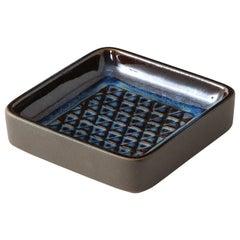 Søholm Blue Ceramic Square Dish, Denmark, 1960s