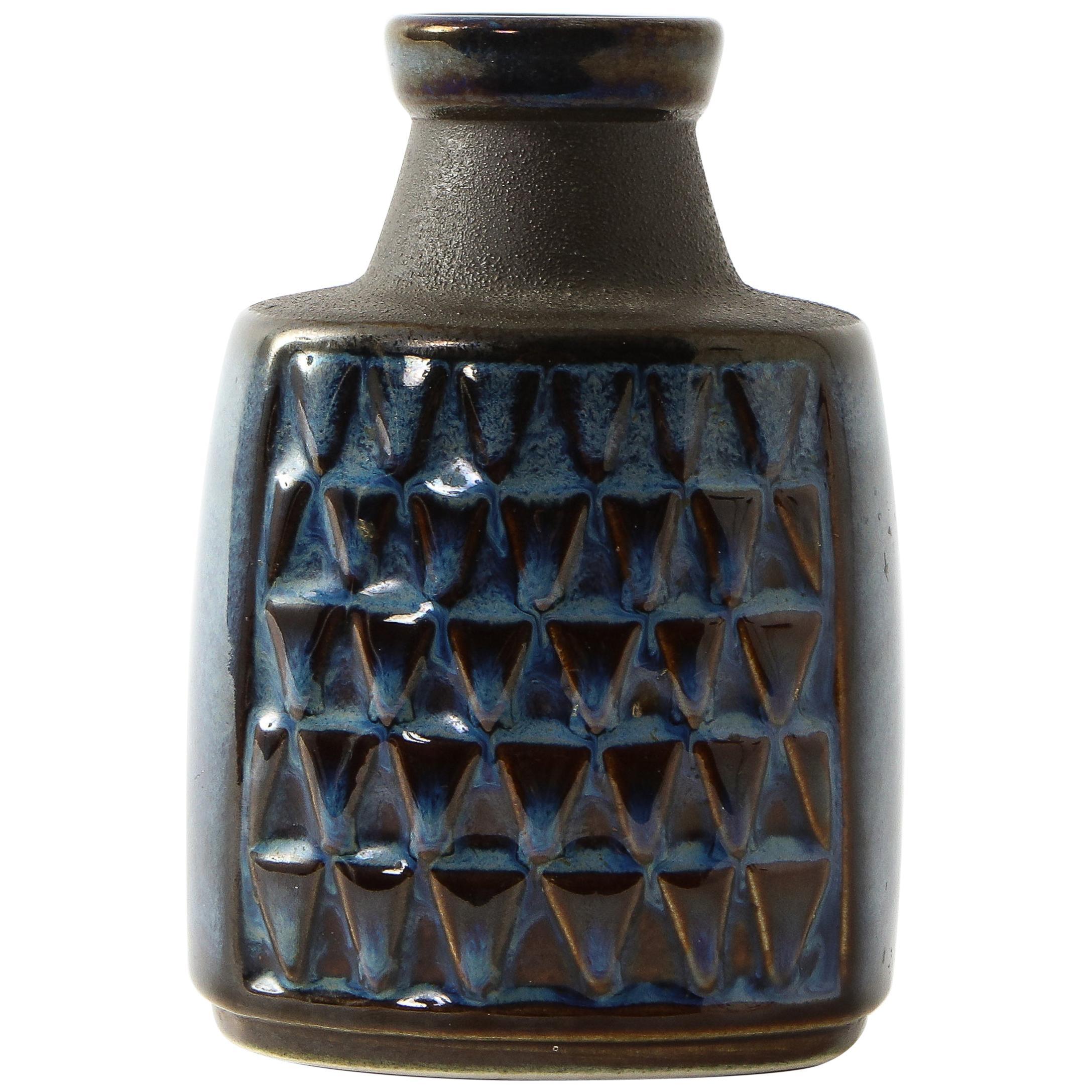 Søholm Blue Ceramic Vase, Denmark, 1960s