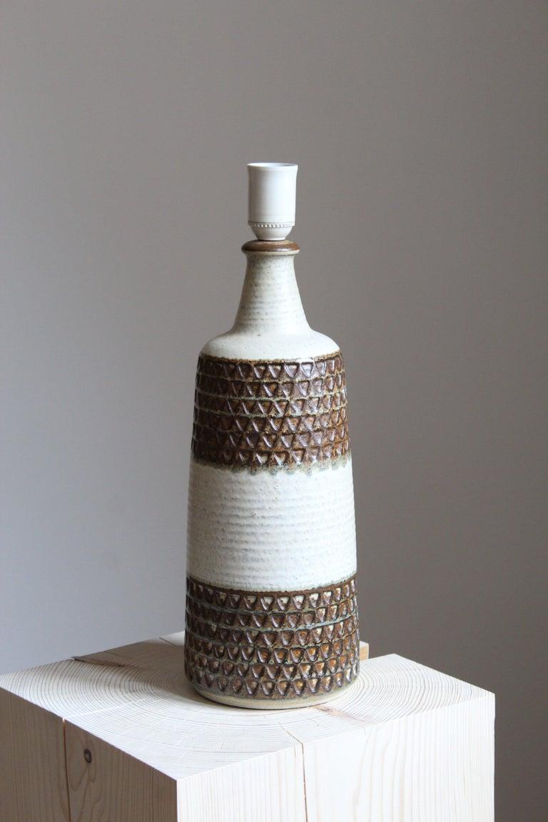 Mid-Century Modern Søholm Keramik, Large Table Lamp, Glazed Stoneware, Bornholm, Denmark, 1960s For Sale