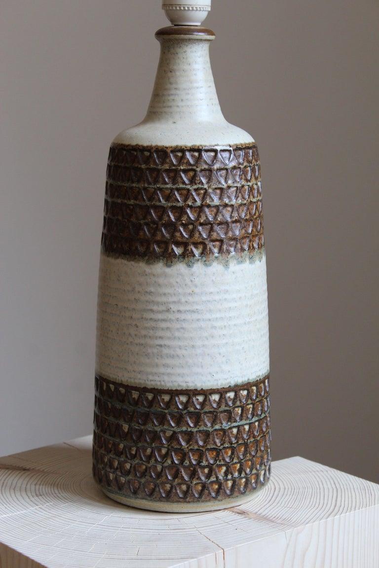 Danish Søholm Keramik, Large Table Lamp, Glazed Stoneware, Bornholm, Denmark, 1960s For Sale