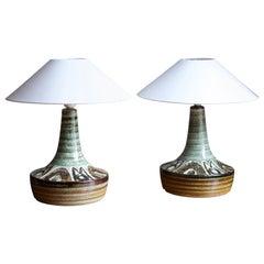 Søholm Keramik, Sizeable Table Lamps, Glazed Stoneware, Bornholm, Denmark, 1960s