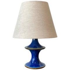 Søholm Keramik, Small Table Lamp, Glazed Blue Stoneware, Bornholm, Denmark, 1965