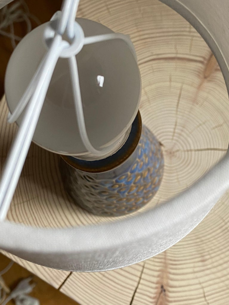 Danish Søholm Keramik, Small Table Lamp, Glazed Stoneware, Bornholm, Denmark, 1960s For Sale