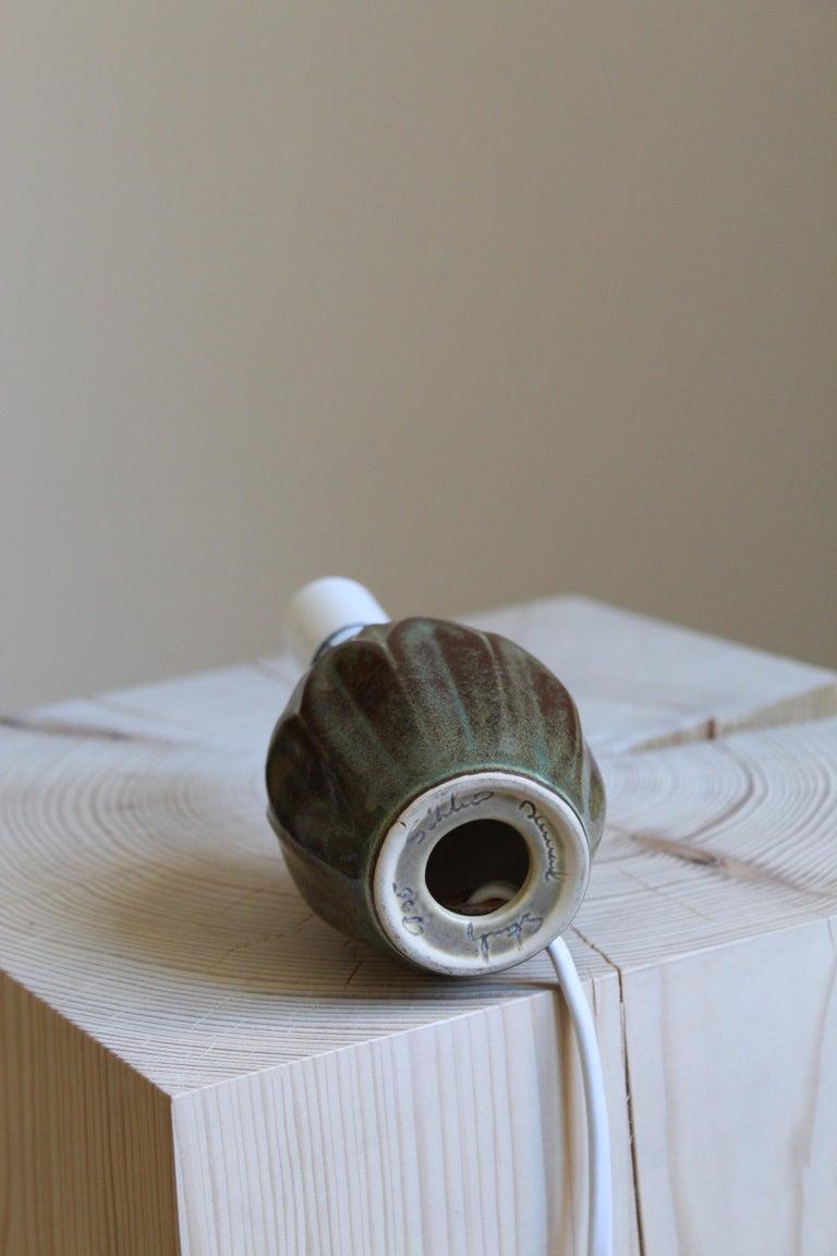Mid-20th Century Søholm Keramik, Small Table Lamp, Glazed Stoneware, Bornholm, Denmark, 1960s For Sale