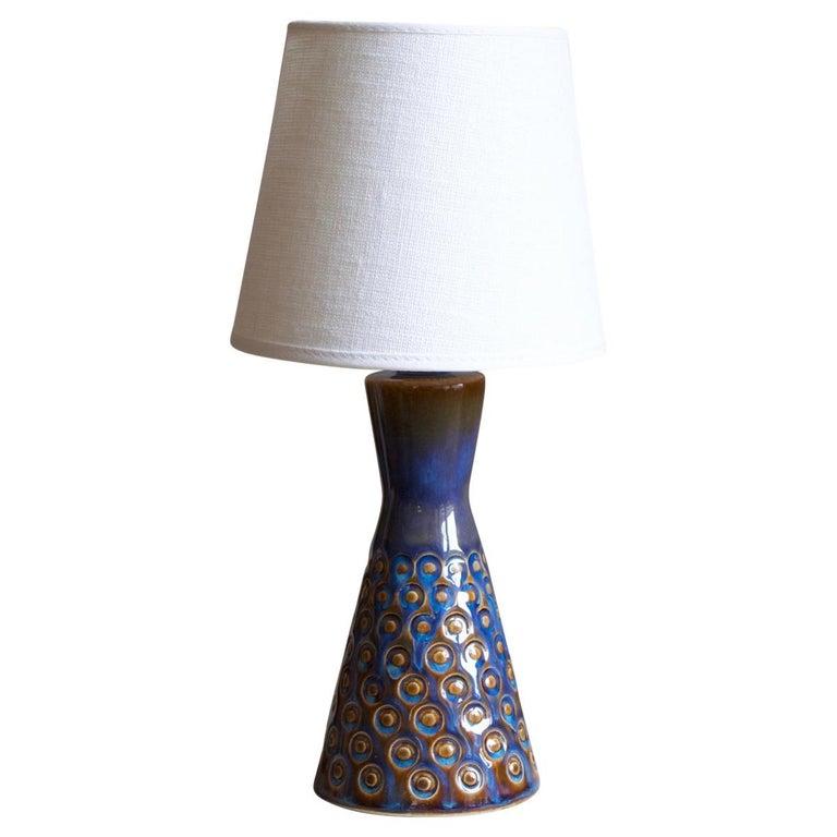 Søholm Keramik, Small Table Lamp, Glazed Stoneware, Bornholm, Denmark, 1960s For Sale