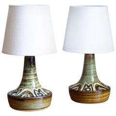 Søholm Keramik, Small Table Lamps, Glazed Stoneware, Bornholm, Denmark, 1960s