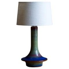 Søholm Keramik, Table Lamp, Blue Glazed Stoneware, Bornholm, Denmark, 1960s