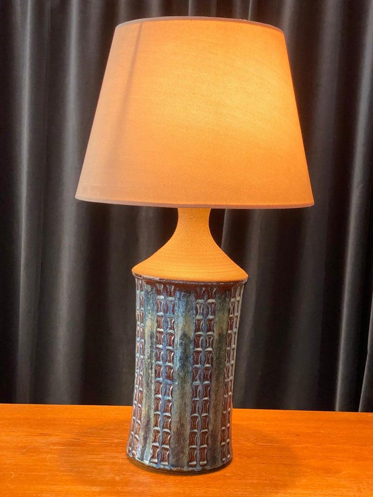 Mid-Century Modern Søholm Keramik, Table Lamp, Glazed Blue Stoneware, Bornholm, Denmark, 1960s For Sale