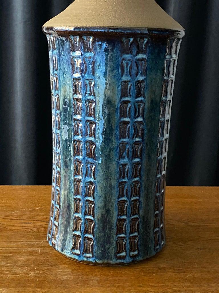 American Søholm Keramik, Table Lamp, Glazed Blue Stoneware, Bornholm, Denmark, 1960s For Sale
