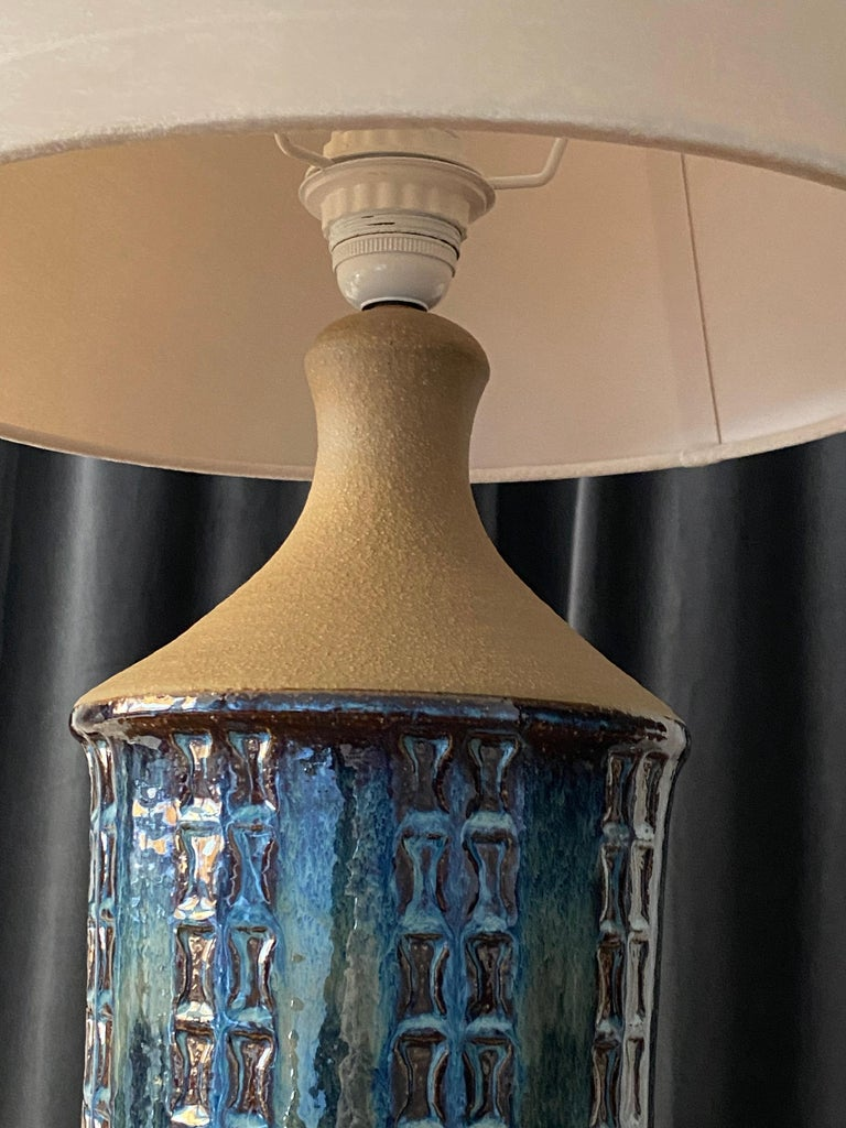 Søholm Keramik, Table Lamp, Glazed Blue Stoneware, Bornholm, Denmark, 1960s In Good Condition For Sale In West Palm Beach, FL