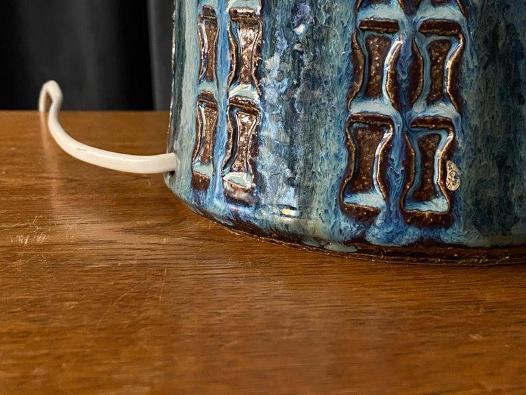 Mid-20th Century Søholm Keramik, Table Lamp, Glazed Blue Stoneware, Bornholm, Denmark, 1960s For Sale