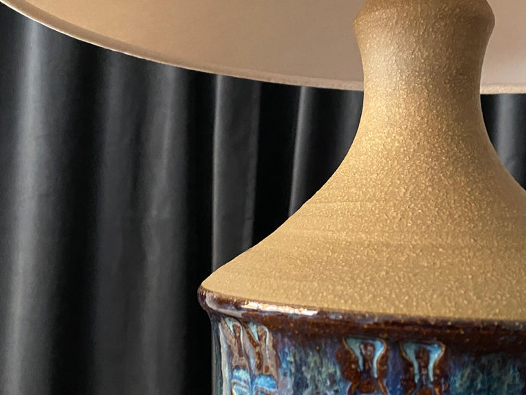Søholm Keramik, Table Lamp, Glazed Blue Stoneware, Bornholm, Denmark, 1960s For Sale 1