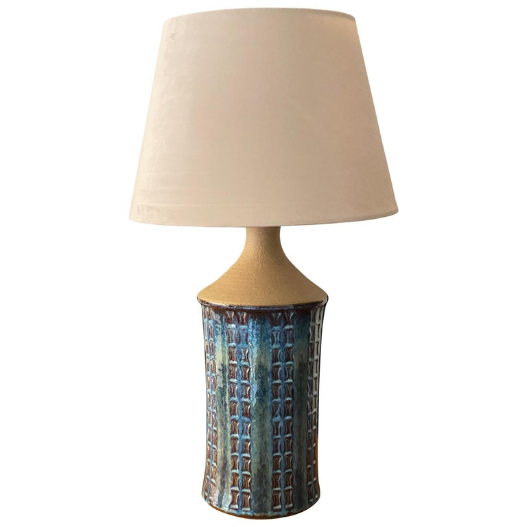 Søholm Keramik, Table Lamp, Glazed Blue Stoneware, Bornholm, Denmark, 1960s For Sale