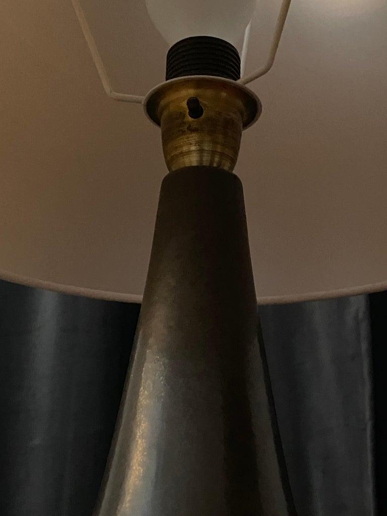 Mid-20th Century Søholm Keramik, Table Lamp, Glazed Grey Stoneware, Bornholm, Denmark, 1960s For Sale