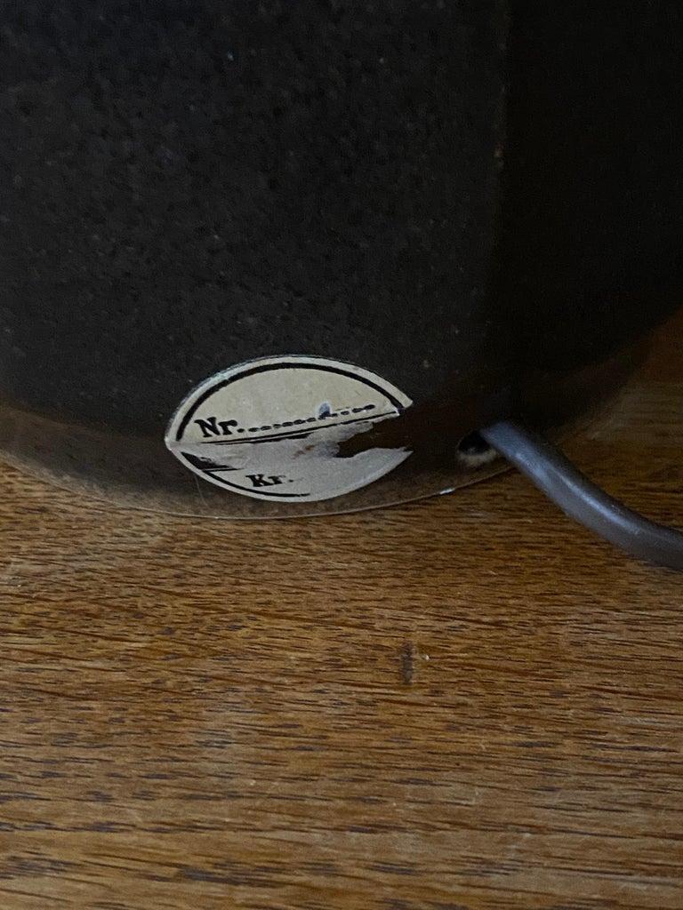 Søholm Keramik, Table Lamp, Glazed Grey Stoneware, Bornholm, Denmark, 1960s For Sale 1