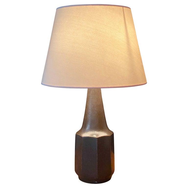 Søholm Keramik, Table Lamp, Glazed Grey Stoneware, Bornholm, Denmark, 1960s For Sale