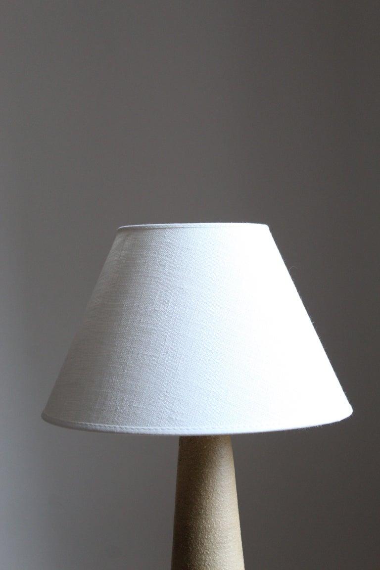 Mid-Century Modern Søholm Keramik, Table Lamp, Glazed Stoneware, Linen Bornholm, Denmark, 1960s For Sale