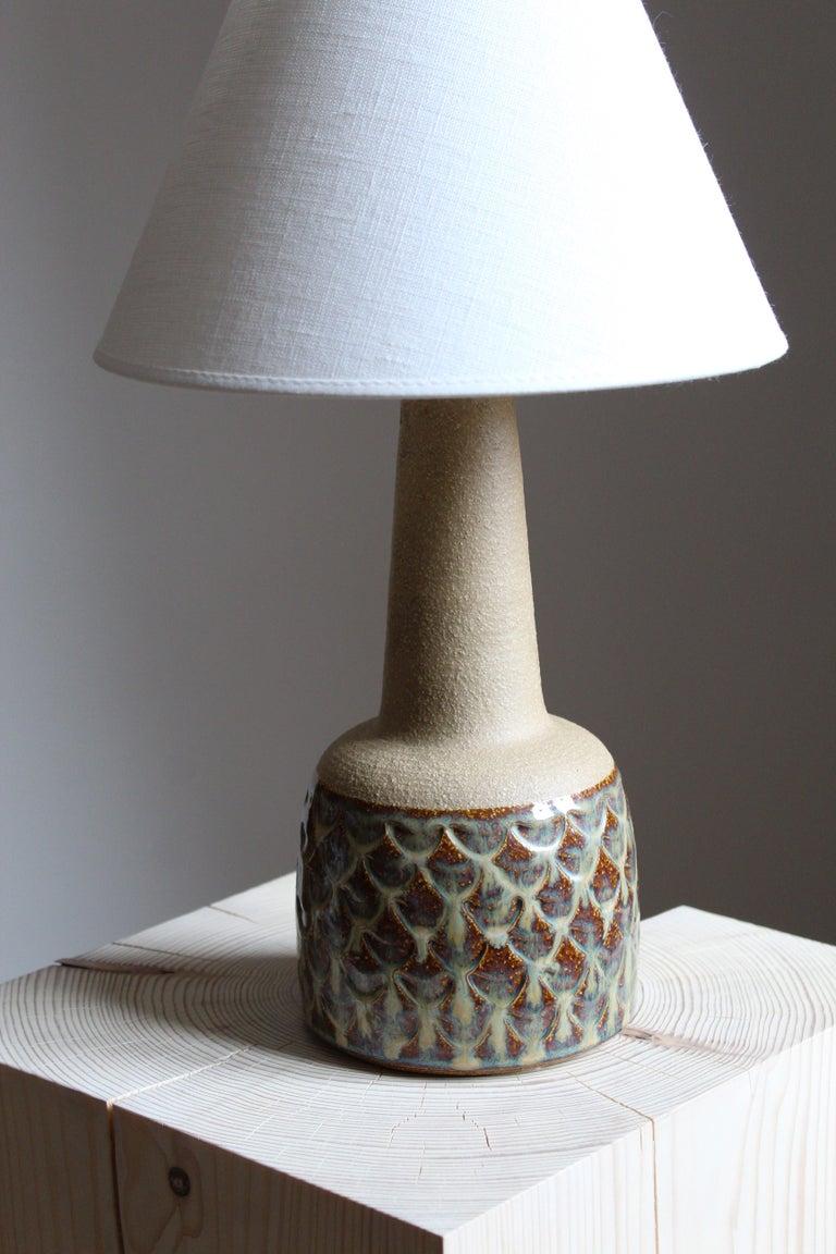Danish Søholm Keramik, Table Lamp, Glazed Stoneware, Linen Bornholm, Denmark, 1960s For Sale