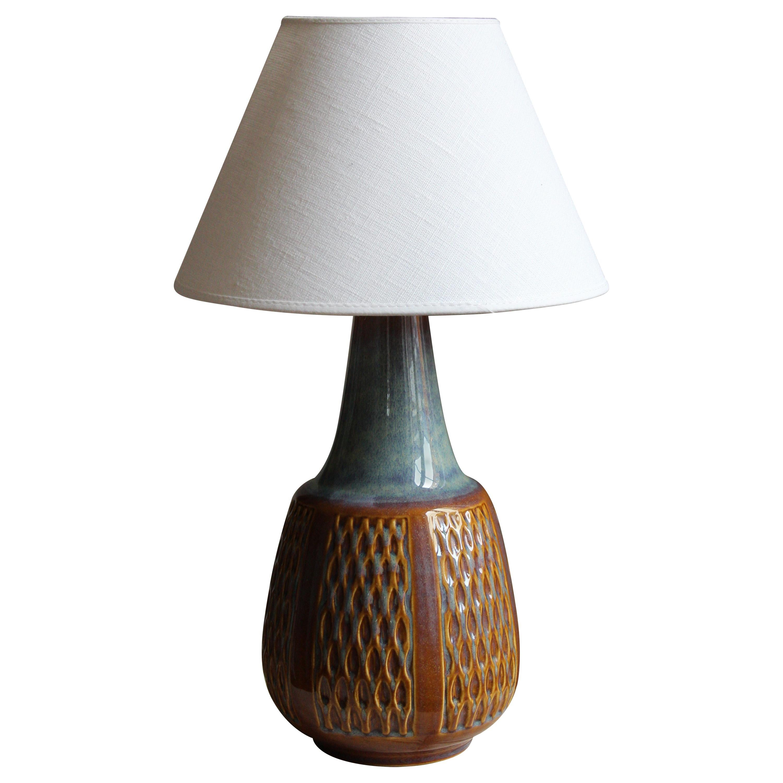 Søholm Keramik, Table Lamp, Glazed Stoneware, Linen Bornholm, Denmark, 1960s