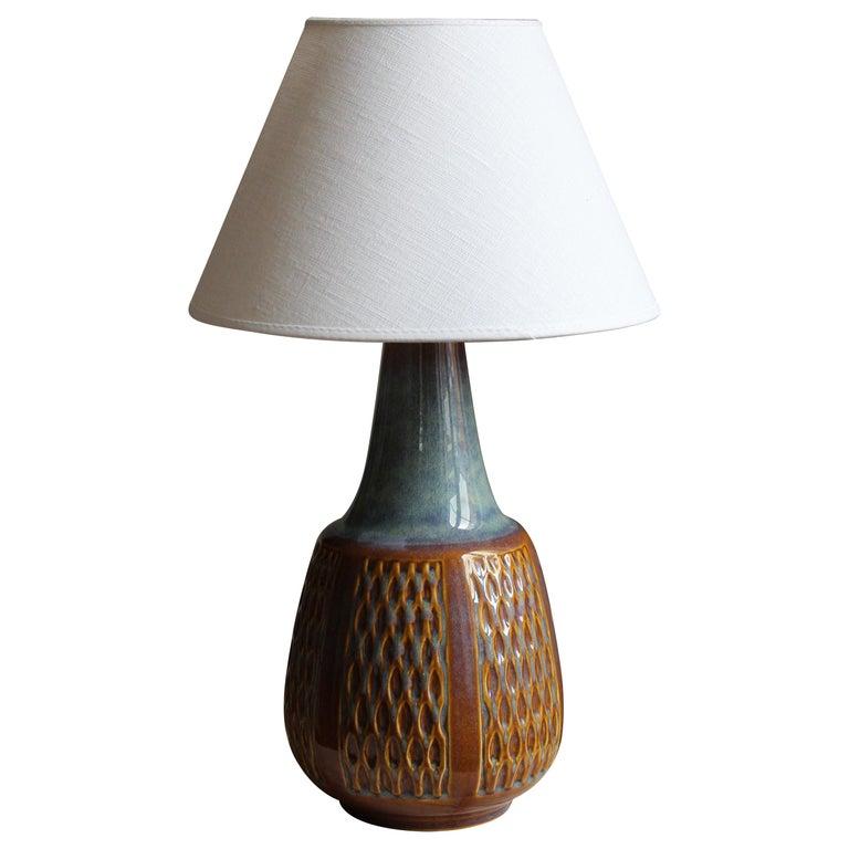 Søholm Keramik, Table Lamp, Glazed Stoneware, Linen Bornholm, Denmark, 1960s For Sale
