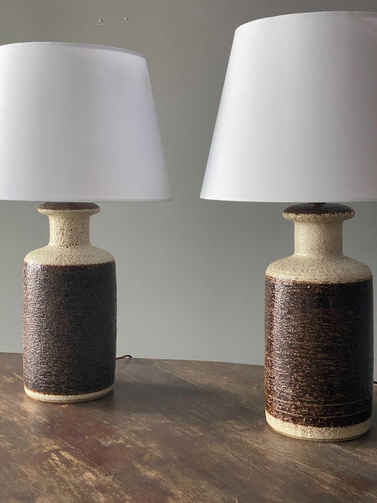 Mid-Century Modern Søholm Keramik, Table Lamps, Glazed Stoneware, Bornholm, Denmark, 1960s For Sale