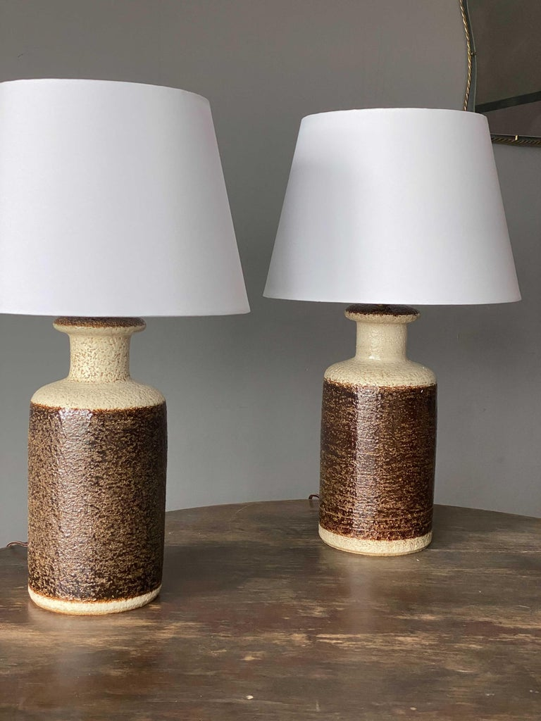 American Søholm Keramik, Table Lamps, Glazed Stoneware, Bornholm, Denmark, 1960s For Sale