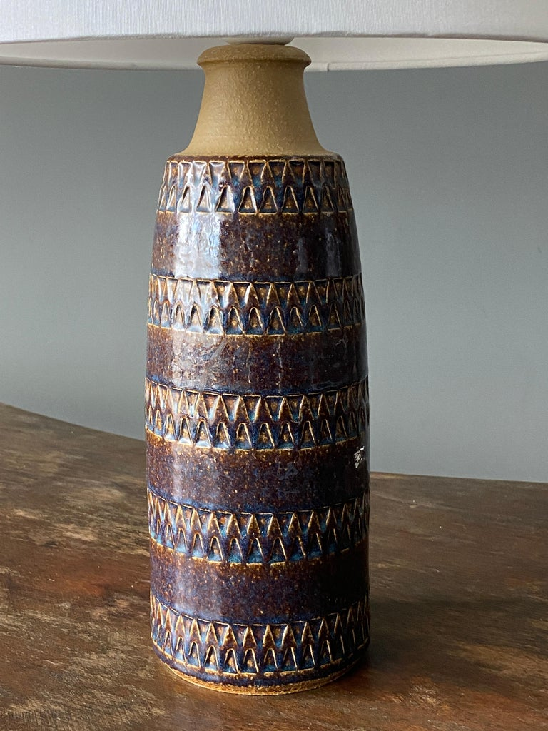 Søholm Keramik, Table Lamps, Glazed Stoneware, Bornholm, Denmark, 1960s In Good Condition For Sale In West Palm Beach, FL