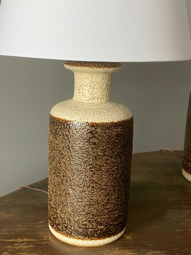 Mid-20th Century Søholm Keramik, Table Lamps, Glazed Stoneware, Bornholm, Denmark, 1960s For Sale