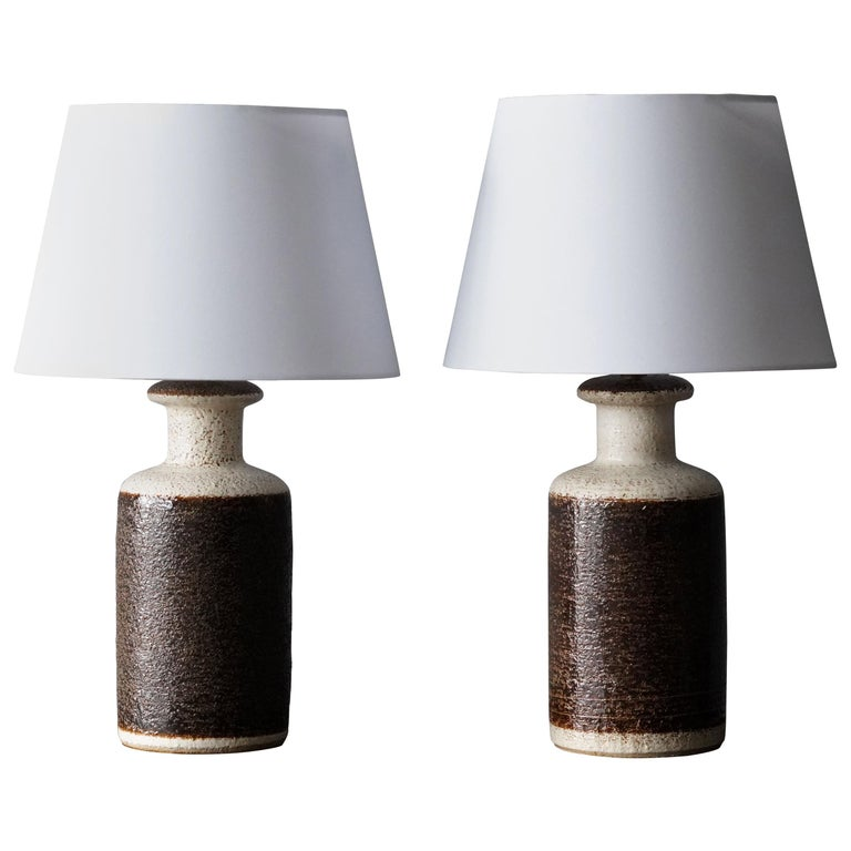 Søholm Keramik, Table Lamps, Glazed Stoneware, Bornholm, Denmark, 1960s For Sale