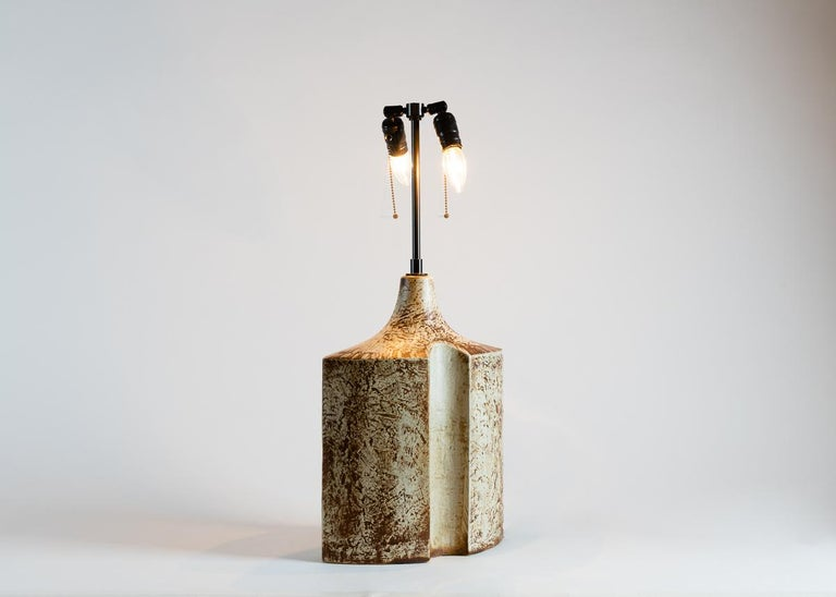 1960s glazed stoneware table lamp by Danish pottery makers Søholm Stenhøj.