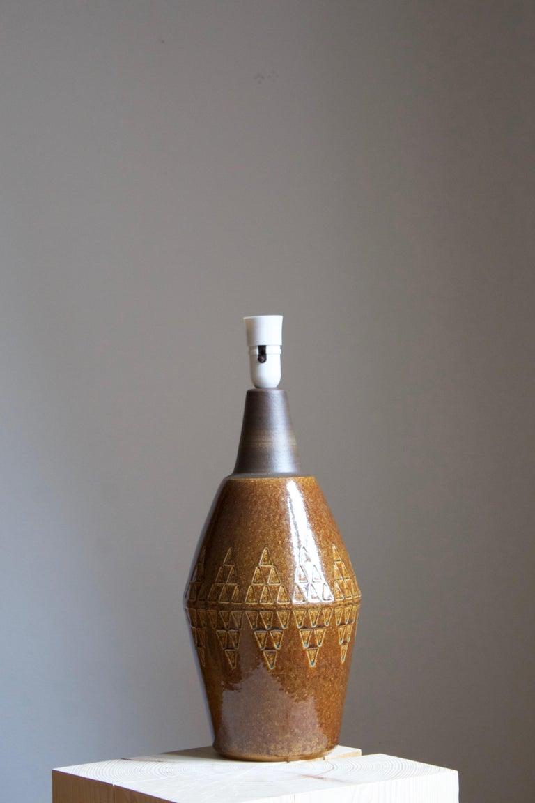 Mid-Century Modern Søholm Stentøj, Large Table Lamp, Glazed Stoneware, Bornholm, Denmark, 1960s For Sale