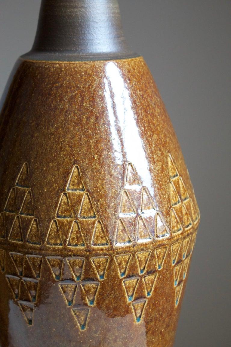 Danish Søholm Stentøj, Large Table Lamp, Glazed Stoneware, Bornholm, Denmark, 1960s For Sale