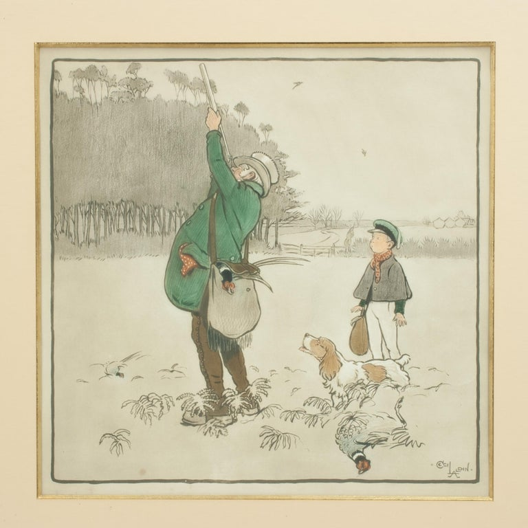 A wonderful and very rare shooting print, goupilgravure, The Shot, by Cecil Aldin. The nicely framed picture shows a gentleman in top hat, pheasant shooting, with his young lad waiting behind him with his spaniel. In the background can be seen