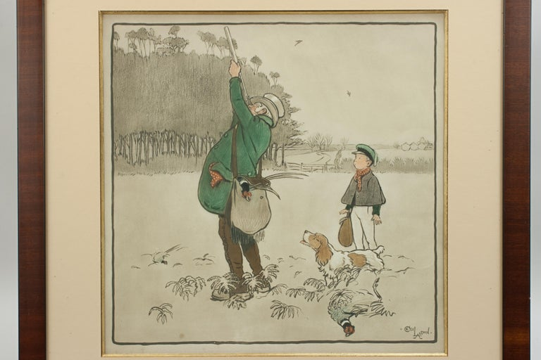 French Shooting Print, The Shot by Cecil Aldin For Sale